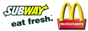 Subway and McDonalds Logos