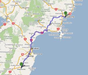 Leg 3: Waipukurau to Gisborne - 287 kms