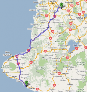 Leg 5: Karapiro to Patea - 323 kms