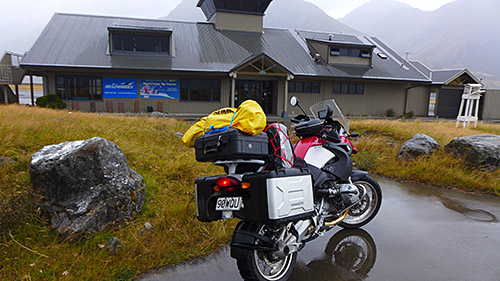 Mt Cook airport in howling wind and torrential rain. It's worse than it looks